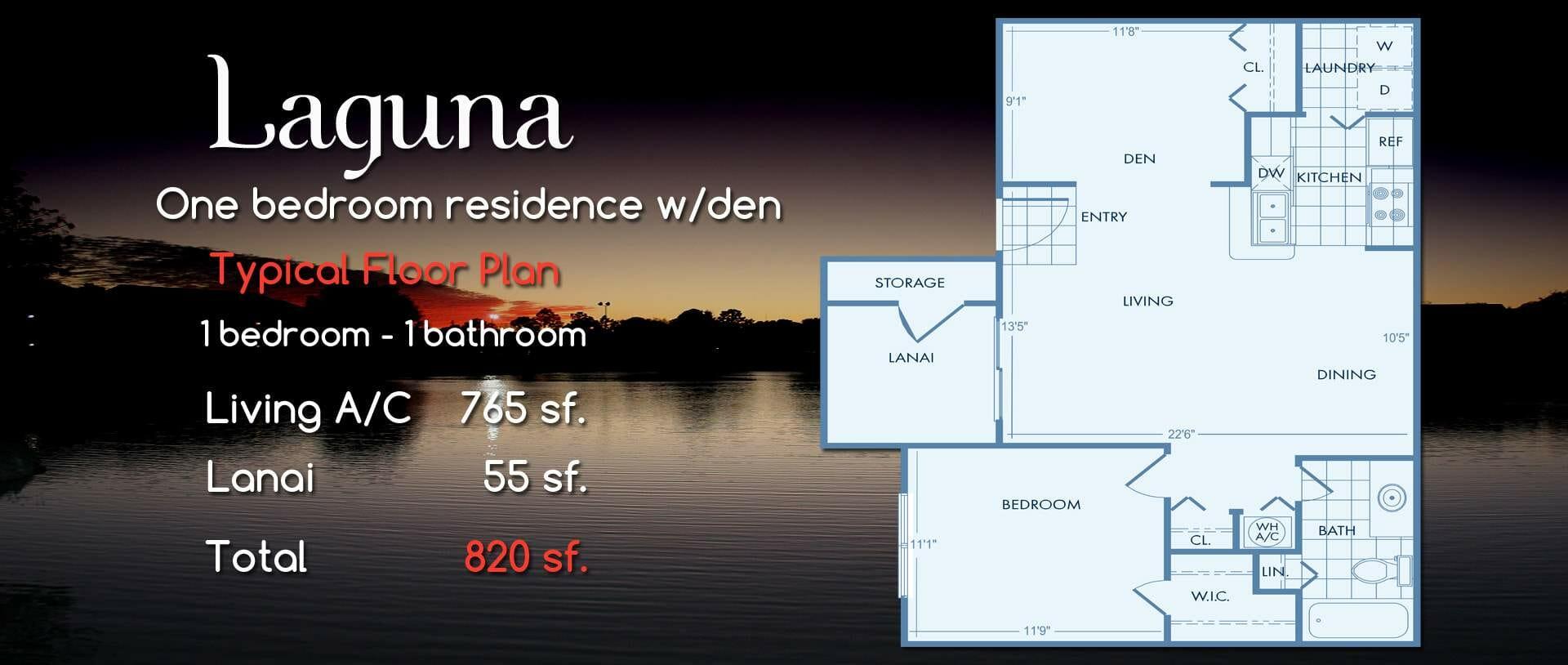 Laguna | One Bedroom w/Den Floor Plan
