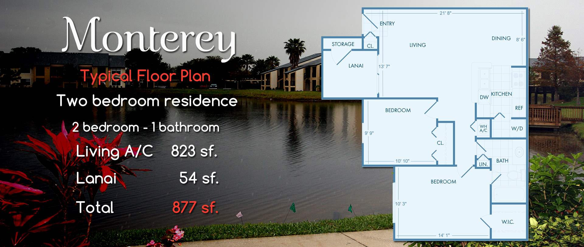 Monterey | Two Bedroom Floor Plan