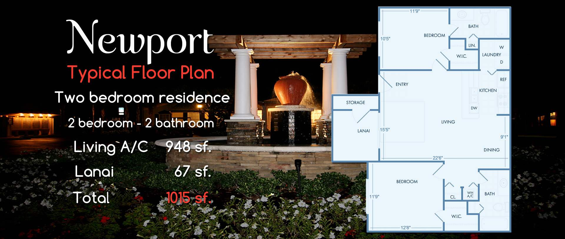 Newport | Two Bedroom, Two Bath Floor Plan